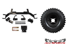 "8"" Black Steel Wheel on 18"" Duro Power Trail & E-Z-GO 3"" Old Style Axle Lift Combo"
