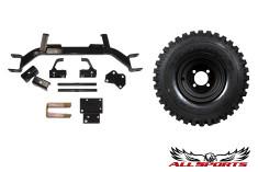 "8"" Black Steel Wheel on 18"" Duro Power Trail & E-Z-GO 3"" Old Style Axle Lift Combo"
