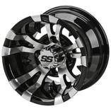 10 x 7 Machined/Black Warlock Wheel