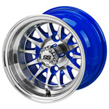 10 x 7 Machined/Blue 14-Spoke Wheel