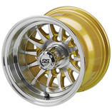 10 x 7 Machined/Gold 14-Spoke Wheel
