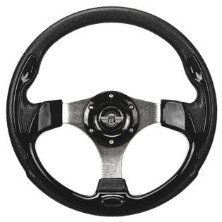 "12.5"" Black Steering Wheel by Route 66 Golf Cart Accessories"