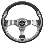 "12.5"" Chrome Steering Wheel by Route 66 Golf Cart Accessories"