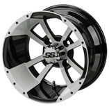 12 x 7 Black/White Maltese Cross Wheel