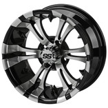 12x7 Machined/Black Warlock Wheel  3+4 Offset  4 on 4 Bolt Pattern  SS Center Cap included