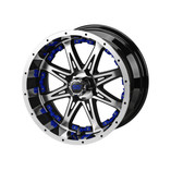 14 x 7 Black and Machined Revenge Wheel with Blue Inserts