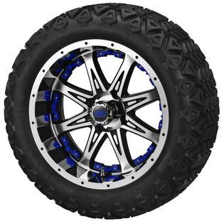 14x7 Black & Machined Revenge Wheel w/Blue Inserts