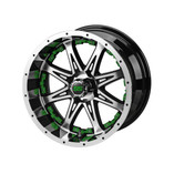 14 x 7 Black and Machined Revenge Wheel with Green Inserts