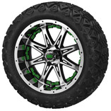 14 x 7 Black and Machined Revenge Wheel with Green Inserts on 23 x 10-14 Black Trail