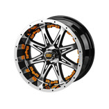 14 x 7 Black and Machined Revenge Wheel with Orange Inserts