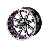 14 x 7 Black and Machined Revenge Wheel with Pink Inserts