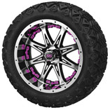 14 x 7 Black and Machined Revenge Wheel with Pink Inserts on 23 x 10-14 Black Trail
