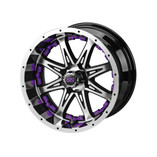 14 x 7 Black and Machined Revenge Wheel with Purple Inserts