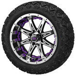 14x7 Black & Machined Revenge Wheel with Purple Inserts on 23 x 10-14 Black Trail