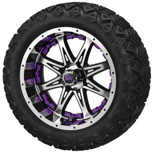 14x7 Black & Machined Revenge Wheel with Purple Inserts on 23 x 10-14 Black Trail