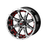 14 x 7 Black and Machined Revenge Wheel with Red Inserts