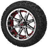 14 x 7 Black and Machined Revenge Wheel with Red Inserts on 23 x 10-14 Black Trail