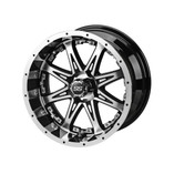 14 x 7 Black and Machined Revenge Wheel with Silver Inserts