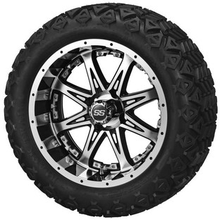 14x7 Black & Machined Revenge Wheel with Silver Inserts on 23 x 10-14 Black Trail