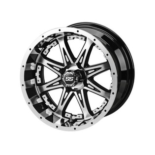 14x7 Black & Machined Revenge Wheel w/White Inserts