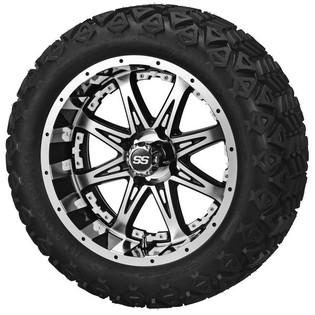 14x7 Black & Machined Revenge Wheel w/White Inserts on 23 x 10-14 Black Trail