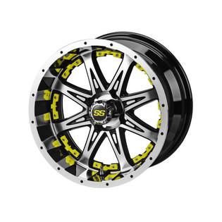 14x7 Black & Machined Revenge Wheel w/Yellow Inserts