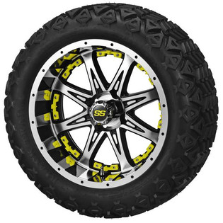 14x7 Black & Machined Revenge Wheel w/Yellow Inserts on 23 x 10-14 Black Trail