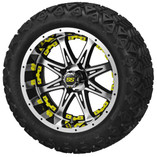 14x7 Black & Machined Revenge Wheel w/Yellow Inserts on 23 x 10-14 Black Trail