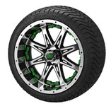 14x7 Black & Machined Revenge Wheel w/Green Inserts on 215/35-14 LSI Elite