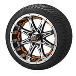 14x7 Black & Machined Revenge Wheel w/Orange Inserts on 215/35-14 LSI Elite