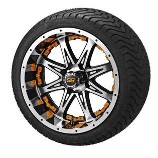 14x7 Black & Machined Revenge Wheel w/Orange Inserts on 215/35-14 LSI Elite
