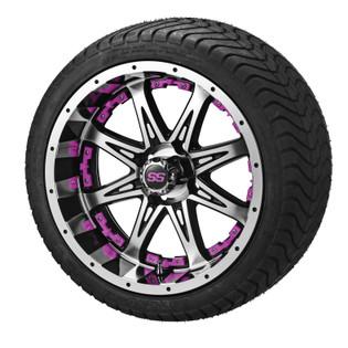 14x7 Black & Machined Revenge Wheel w/Pink Inserts on 215/35-14 LSI Elite