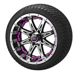 14x7 Black & Machined Revenge Wheel w/Pink Inserts on 215/35-14 LSI Elite