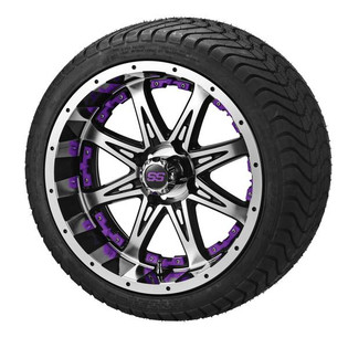 14x7 Black & Machined Revenge Wheel w/Purple Inserts on 215/35-14 LSI Elite