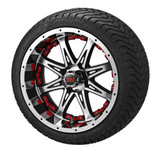 14x7 Black & Machined Revenge Wheel w/Red Insertson 215/35-14 LSI Elite