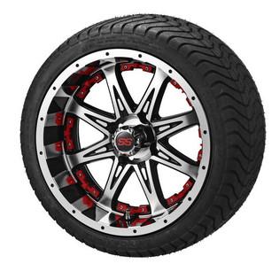 14x7 Black & Machined Revenge Wheel w/Red Insertson 215/35-14 LSI Elite