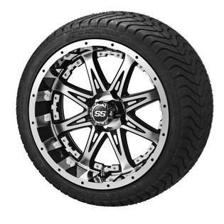 14 x 7 Black Machined Revenge Wheel with White Inserts on 215/35-14 LSI Elite