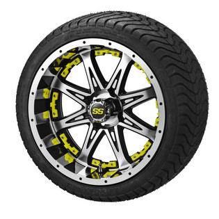 14 x 7 Black Machined Revenge Wheel with Yellow Inserts on 215/35-14 LSI Elite