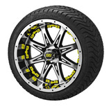 14 x 7 Black Machined Revenge Wheel with Yellow Inserts on 215/35-14 LSI Elite