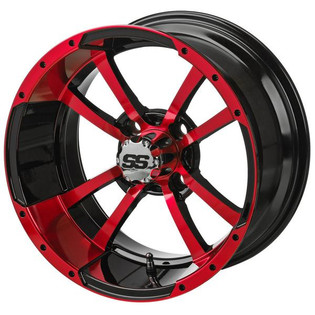 14 x 7 Black/Red Maltese Cross Wheel