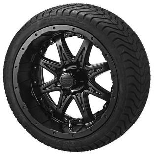 14 x 7 Matte Black Revenge Wheel with Black Inserts on 215/35-14 LSI Elite