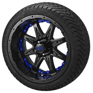 14 x 7 Matte Black Revenge Wheel with Blue Inserts on 215/35-14 LSI Elite