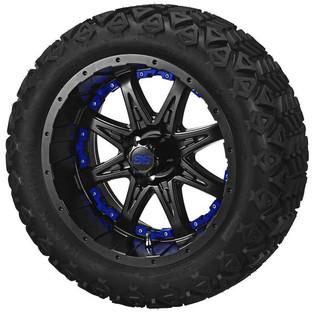 14 x 7 Matte Black Revenge Wheel with Blue Inserts on 23 x 10-14 Black Trail