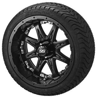 14 x 7 Matte Black Revenge Wheel with Chrome Inserts on 215/35-14 LSI Elite