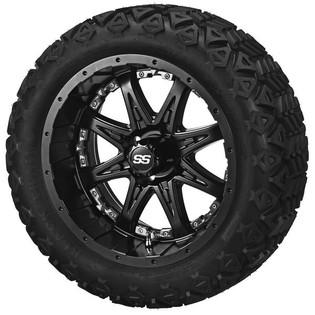14 x 7 Matte Black Revenge Wheel with Chrome Inserts on 23 x 10-14 Black Trail