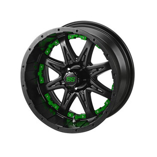 14 x 7 Matte Black Revenge Wheel with Green Inserts