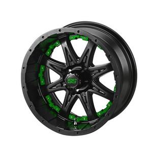 14 x 7 Matte Black Revenge Wheel with Green Inserts