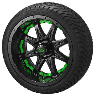 14 x 7 Matte Black Revenge Wheel with Green Inserts on 215/35-14 LSI Elite