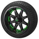 14 x 7 Matte Black Revenge Wheel with Green Inserts on 215/35-14 LSI Elite