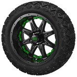 14 x 7 Matte Black Revenge Wheel with Green Inserts on 23 x 10-14 Black Trail